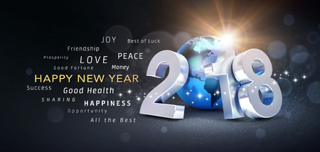 New year date 2018 composed with a blue planet earth and greeting illustration new year date 2018 composed with a blue planet earth and greeting words 3d illustration m4hsunfo