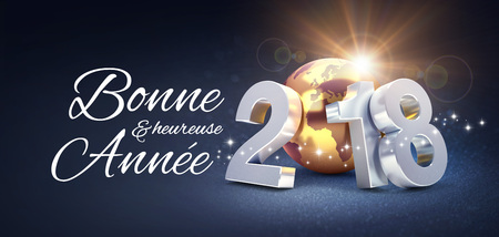New Year date 2018 composed with a golden planet earth and Greetings, on a glittering black background - 3D illustration