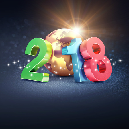 Colorful New Year date 2018, composed with a gold planet earth, on a glittering black background - 3D illustration