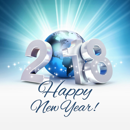 Greetings and New Year date 2018 composed with a blue planet earth, on a shiny blue background - 3D illustration