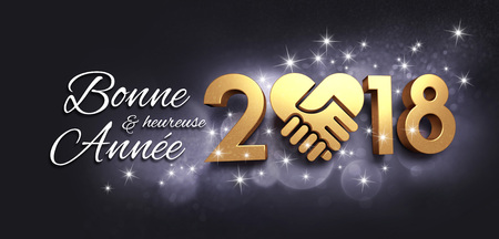 New Year date 2018, composed with a golden heart, Greetings in French, on a glittering black background - 3D illustration