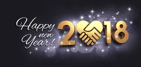 Greetings and New Year date 2018, composed with a golden heart, glittering on a black background - 3D illustration Reklamní fotografie