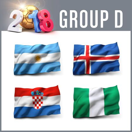 Russia 2018 qualifying group D with team flags. International soccer competition. 3D illustration. Stock Photo