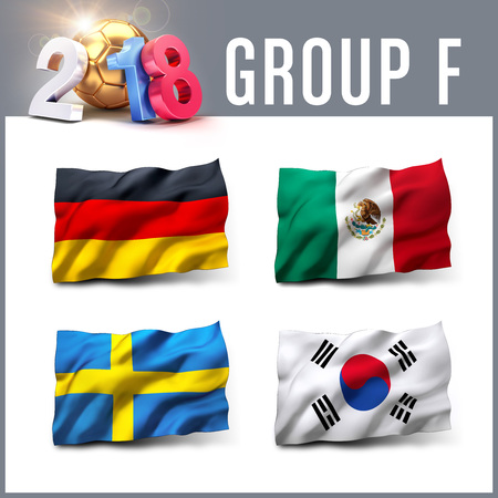 Russia 2018 qualifying group F with team flags. International soccer competition. 3D illustration.
