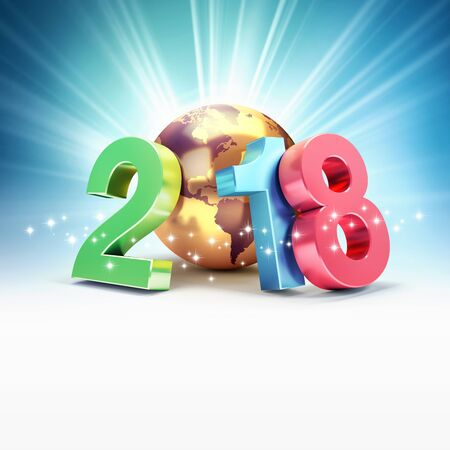 Colorful New Year date 2018, composed with a gold planet earth, on a shiny blue background - 3D illustration