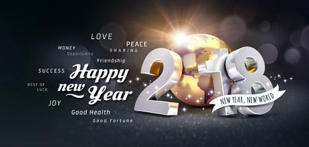 새 해 날짜 2018 황금 행성 지구와 인사말, 축제 검은 배경 -3D 일러스트에 구성
