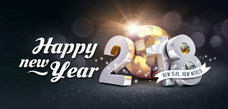 Neues Jahr-Datum 2018 verfasste mit einer goldenen Planetenerde und Grüße, auf einem festlichen schwarzen Hintergrund - Illustration 3D