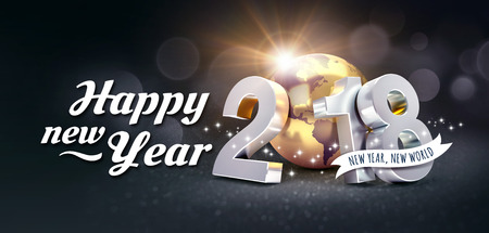 New Year date 2018 composed with a golden planet earth and Greetings, on a festive black background - 3D illustration 版權商用圖片 - 91510060