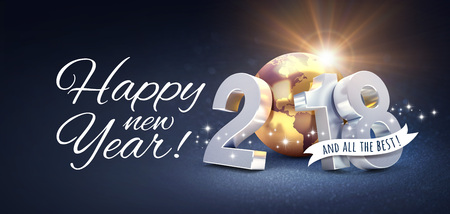 New Year date 2018 composed with a golden planet earth and Greetings, on a festive black background - 3D illustration