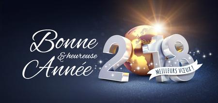 Nieuwjaarsdatum 2018 samengesteld met een gouden aarde en Groeten in het Frans, op een feestelijke zwarte achtergrond - 3D illustratie