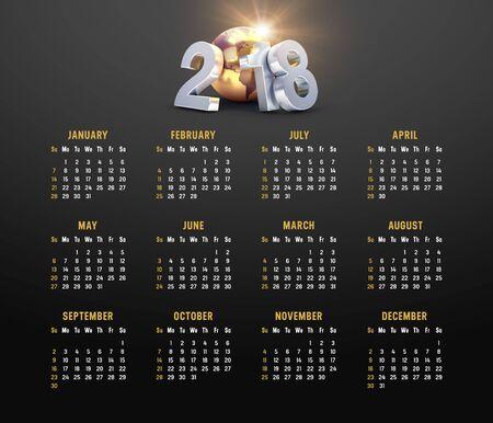 일요일에 시작하는 검은 색 바탕에 2018 년 황금색 달력