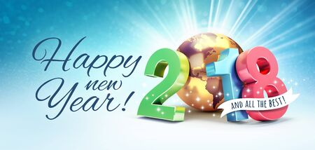 Greetings and colorful New Year date 2018, composed with a gold planet earth, on a shiny blue background - 3D illustration