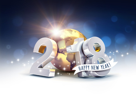 Greetings and silver New Year date 2018, composed with a gold planet earth, on a blurry blue background - 3D illustration Stock Illustration - 92170906