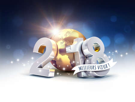 Silver New Year date 2018, composed with a gold planet earth, Greetings in French language, on a blurry blue background - 3D illustration