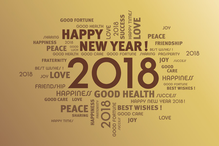 Greeting words around New Year date 2018, on gold background