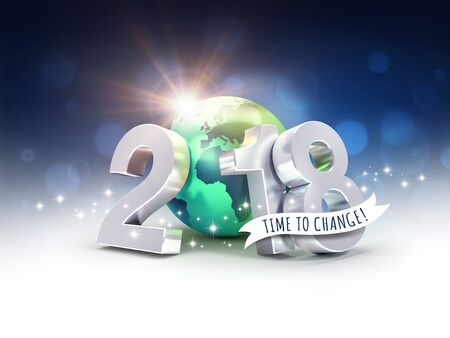 Greetings and silver New Year date 2018, composed with a green planet earth, on a blurry blue background - 3D illustration