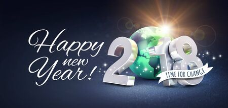 Greetings and silver New Year date 2018, composed with a green planet earth, on a glittering black background - 3D illustration