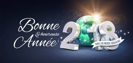 Silver New Year date 2018, composed with a green planet earth, Greetings in French, on a glittering black background - 3D illustration Stock fotó