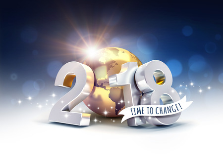 Greetings and silver New Year date 2018, composed with a gold planet earth, on a blurry blue background - 3D illustration