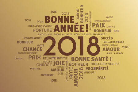 Greeting words in french around new year date 2018 on gold greeting words in french around new year date 2018 on gold background stock vector m4hsunfo