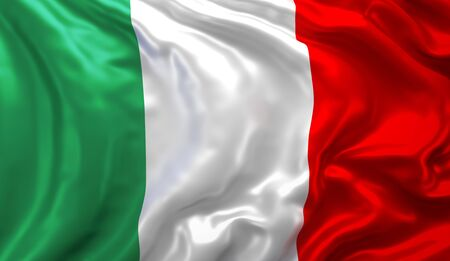 Flag of Italy blowing in the wind. 3D illustration