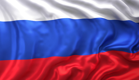 Flag of Russia blowing in the wind. 3D illustration