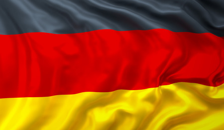 Flag of Germany, satin textured, blowing in the wind Stockfoto