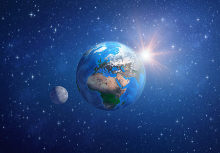 Planet Earth in deep space, focused on Europe, Africa and Asia, with the moon and the sun. 3D illustration -