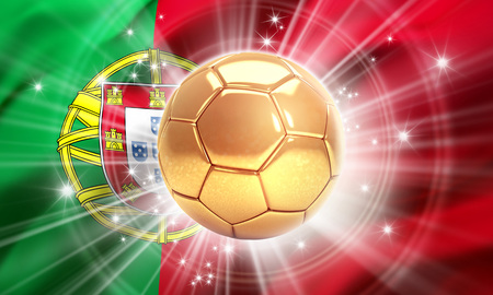 Gold soccer ball illuminated with stars on a flag of Portugal. Champion of the world. 3D illustration