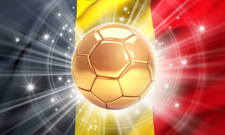 Gold soccer ball illuminated with stars on a flag of Belgium. Champion of the world. 3D illustration
