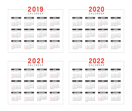 Set of minimalist calendars, years 2019 2020 2021 2022, weeks start Sunday, on white background - Vector templates.