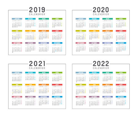 Set of minimalist calendars, years 2019 2020 2021 2022, in French langage, on white background - Vector templates. Vectores