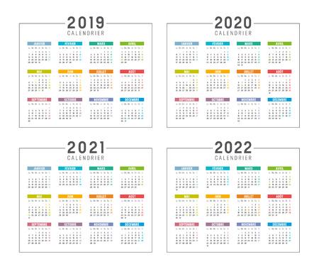 Zestaw minimalistycznych kalendarzy, lata 2019 2020 2021 2022, w języku francuskim, na białym tle - szablony wektorowe. Ilustracje wektorowe