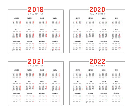 Set of minimalist calendars, years 2019 2020 2021 2022, in French langage, on white background - Vector templates. Ilustrace