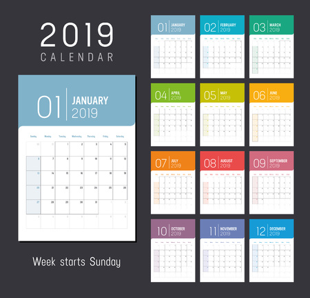 Year 2019 colorful calendar, weeks start Sunday - Vector template. Ilustrace