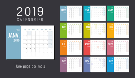 Year 2019 colorful calendar, in French language, weeks start Sunday - Vector template.