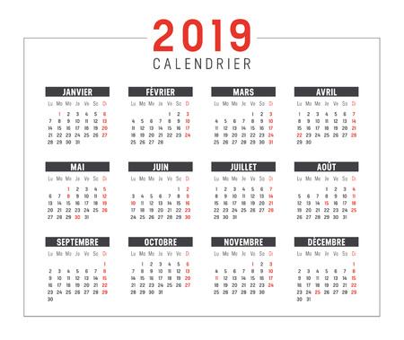 Calendrier noir et rouge minimaliste de l'année 2019, en langue française, sur fond blanc. Modèle vectoriel.