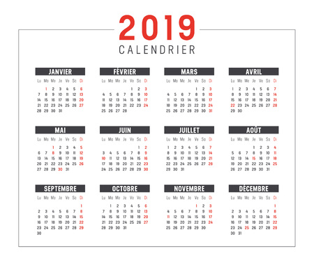 Year 2019 minimalist black and red calendar, in French language, on white background. Vector template.