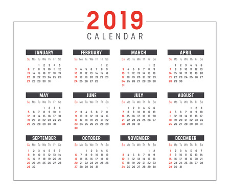 Year 2019 minimalist black and red calendar, on white background. 일러스트