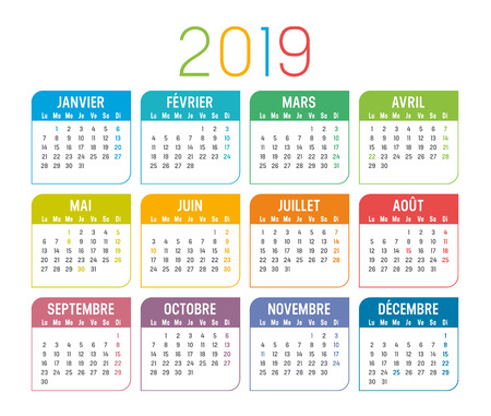 Colorful year 2019 calendar, in French language, isolated on a white background