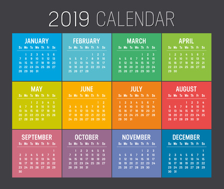 Colorful year 2019 calendar isolated on a black background