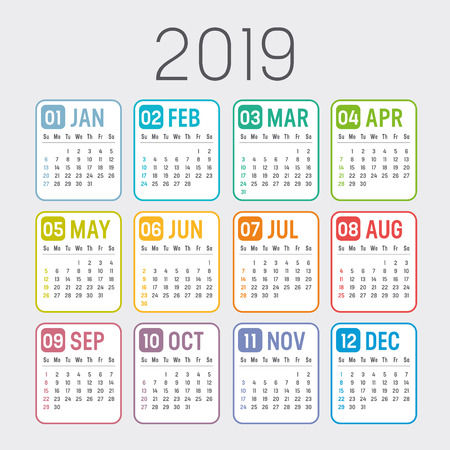 Colorful year 2019 calendar isolated on a white background