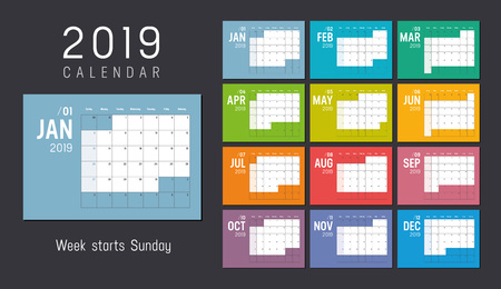 Year 2019 colorful calendar, weeks start Sunday - Vector template. 일러스트