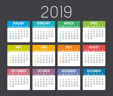 Colorful year 2019 calendar isolated on a dark background 일러스트
