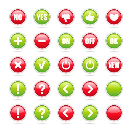 Varios signos verdes y rojos comunes dentro de iconos redondos - Elementos vectoriales Ilustración de vector