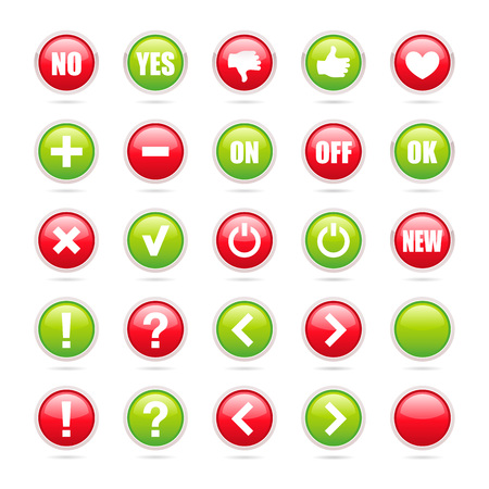 Various common green and red signs inside round icons - Vector elements