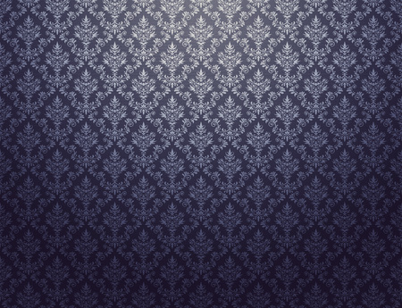 Black damask wallpaper with silver floral patterns Stock Photo