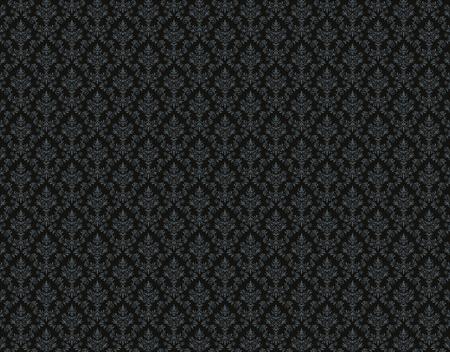 Black damask wallpaper with floral patterns