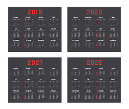 Set of minimalist calendars, years 2019 2020 2021 2022, weeks start Sunday, on black background - Vector templates. 일러스트