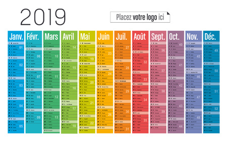 Year 2019 colorful calendar, in French language, on white background. Vector template